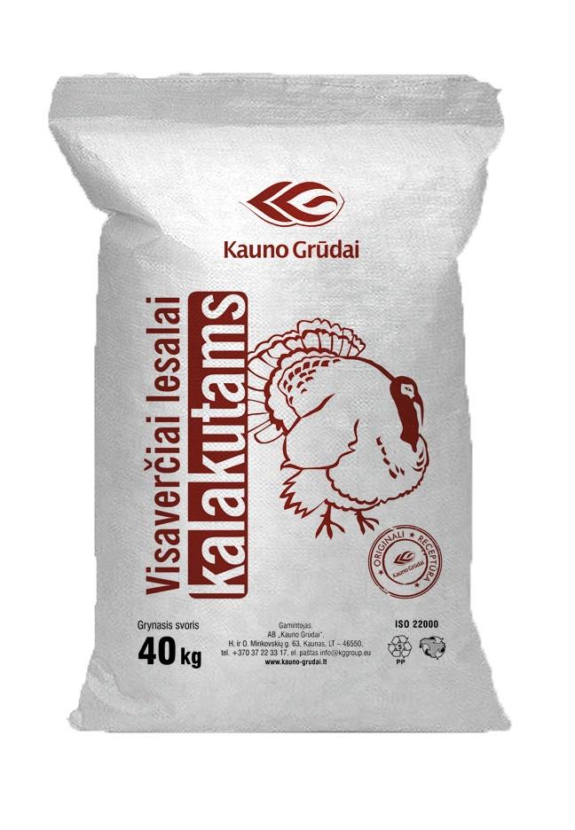 Feed for Turkey 0-5w. 40kg KAUNO GRUDAI