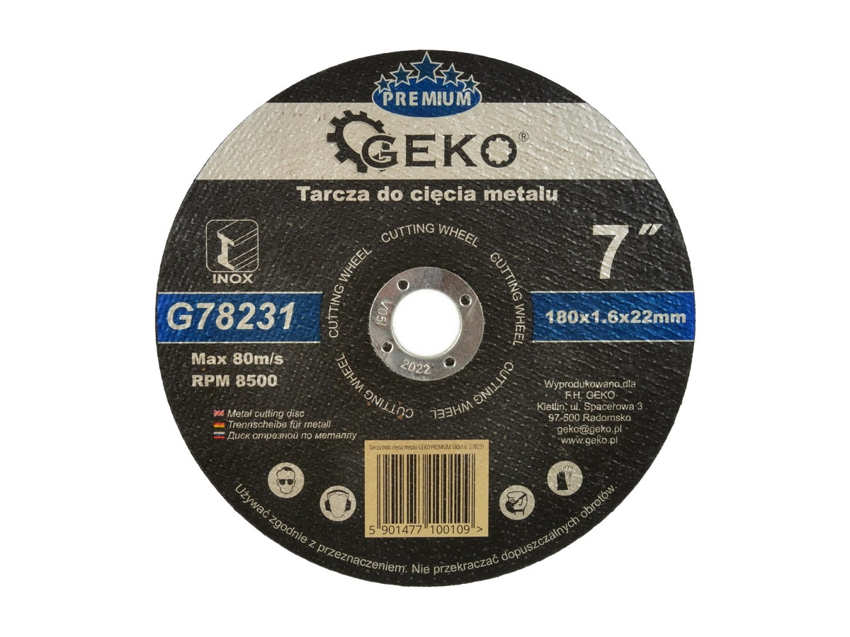 Lõikeketas 180x1,6x22 metall GEKO
