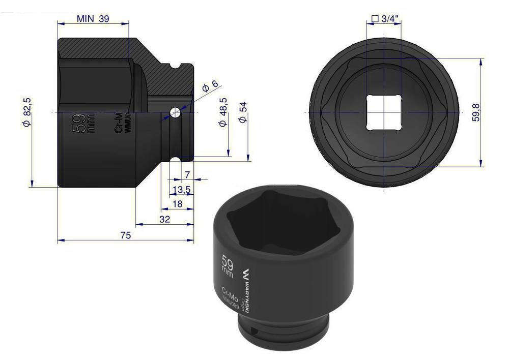 "Voimahylsy 59mm 3/4"" DIN 3129"