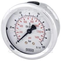 Nestevaimennetun painemittari 1/4 100bar Ø63mm