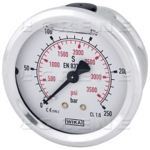Nestevaimennetun painemittari 1/4 250bar Ø63mm